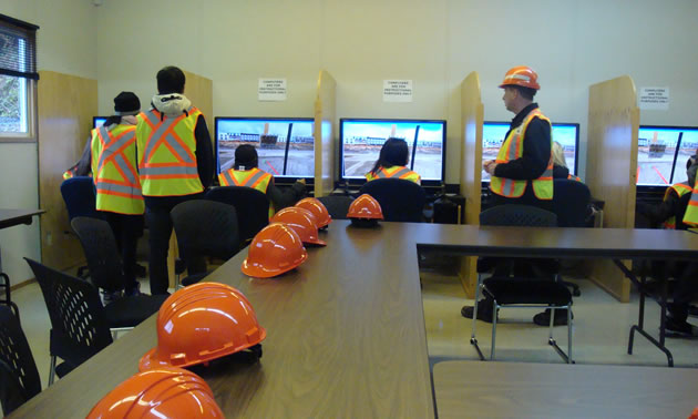 Students are training with simulators.