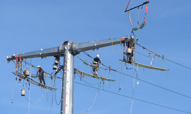 A crew is installing dead-end assemblies on the transmission lines high in the air.
