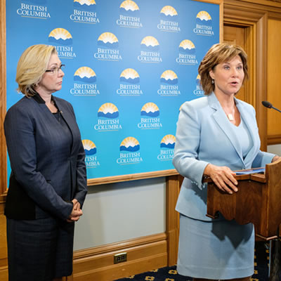 B.C. Premier Christy Clark announces the issuing of an Environmental Assessment Certificate for the Trans Mountain Pipeline Project.