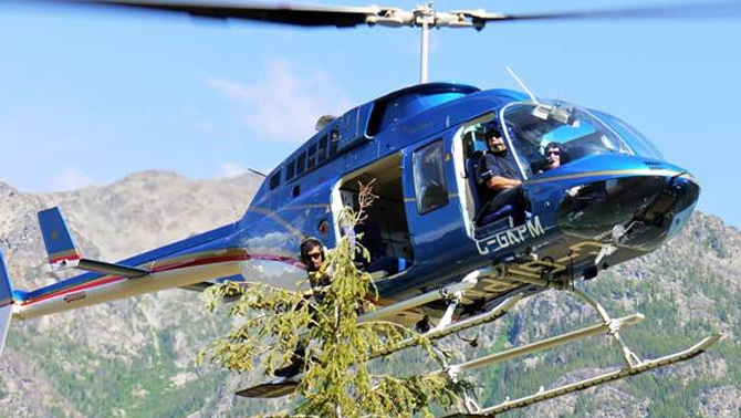 Helicopter supported treetop sampling.