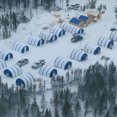 Aerial view of the Rook 1 camp in northern Saskatchewan.
