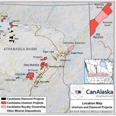Map of CanAlaska projects.
