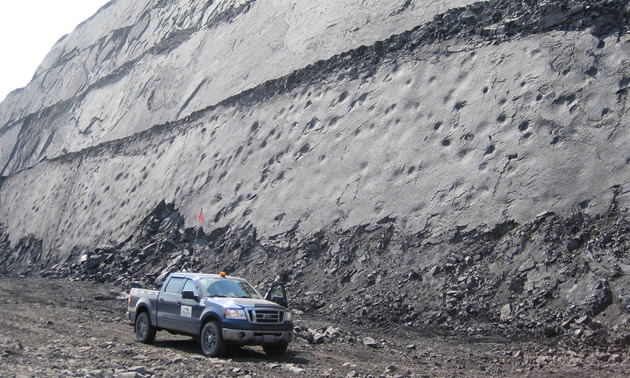 The mines in Tumbler Ridge work closely with the geopark to preserve any interesting finds while on the job. Shown here, a vertical slab at the Anglo American Trend Mine.