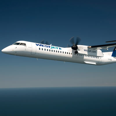 Picture of WestJet airplane.