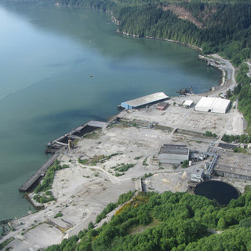 Aerial shot of the proposed Woodfibre LNG site where the company is hard at work remediating the environmental effects of 100 years of industrial activity by the previous owner.