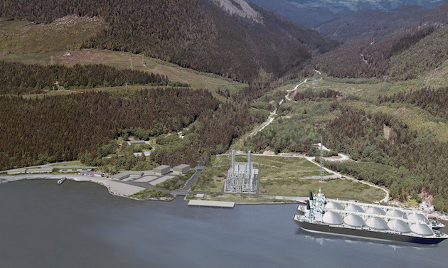 Rendering of the Woodfibre LNG facility planned for Squamish, just seven kilometres southwest of downtown
